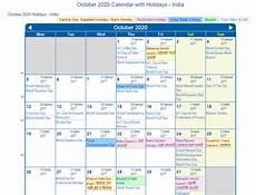 November 2020 Calendar With Indian Holidays Print Friendly October 2020 India Calendar For Printing