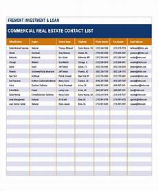 Media Contact List Template 5 Real Estate List Templates Free Samples Examples
