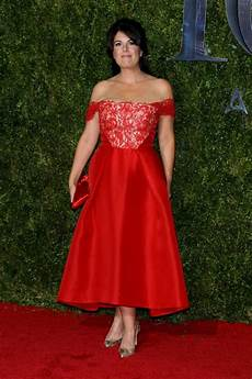 monica lewinsky attends the tony awards in a prom like dress