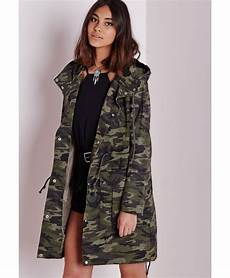 camo coats for missguided camo parka jacket in green camo lyst