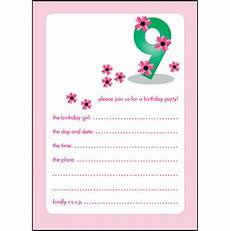 Birthday Invitations Girls 10 Childrens Birthday Party Invitations 9 Years Old Girl