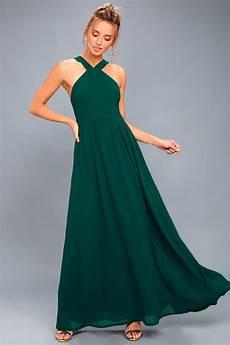 beautiful forest green dress maxi dress halter dress