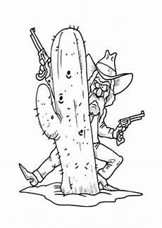 ausmalbild cowboy hinterm kaktus kostenlos ausdrucken