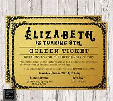 Golden Ticket Invitation Willy Wonka Golden Ticket Birthday Invitation Golden Ticket