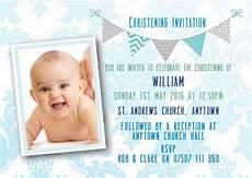 Christening Invitation Card Design Free Download Personalised Bunting Photo Christening Invitations Boy