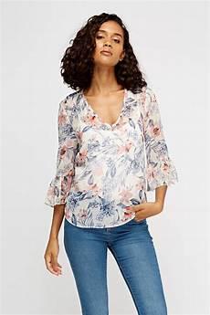 flair sleeve blouse metallic insert flare sleeve blouse white multi