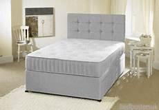 grey fabric divan bed set memory mattress headboard