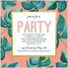 Summer Party Invites Tropical Leaf Summer Party Invitation Summer Party