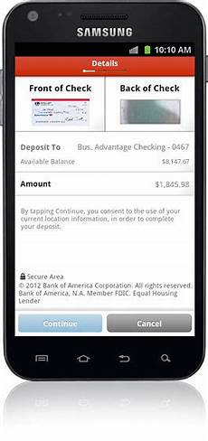 bank of america mobile deposit mobile banking features offered by bank of america small