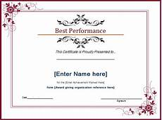 Top Performer Certificate Template Best Performance Award Certificate At Word Documents Com