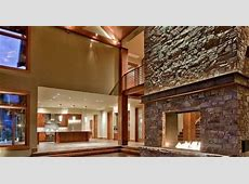 awesome stone fireplace design accent lighting cathedral ceiling wood flooring   For the Abode