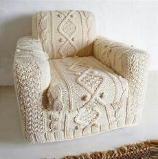 knitted aran armchair slip cover by biscuitscout