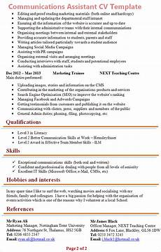 Communication Skills Cv Examples Communications Assistant Cv Template 2