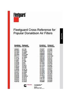 Fuel Filter Crossover Chart Fleetguard Cross Reference For Donaldson Air Filters