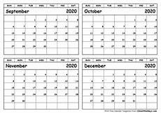 C Alendar Print September To December 2020 Calendar Template 4