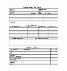 Sales Call Sheets Call Sheet Template 25 Free Word Pdf Documents