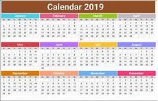 Year Calender 2019 Calendar Holidays Usa India Uk Canada Australia