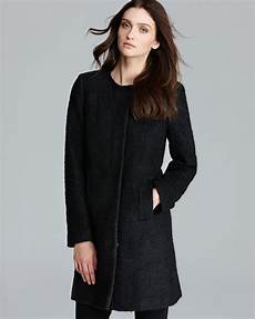 womens collarless coats lyst dkny coat boucle collarless a line in black