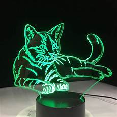 Cat Night Light Usb 7 Colorful Cat 3d Lamp Acrylic Led Night Light Usb Touch
