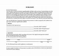 Sublet Agreement Format Free 25 Sample Sublease Agreement Templates In Google