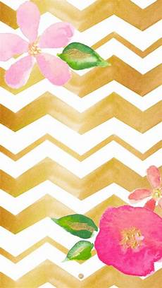 pink chevron iphone wallpaper watercolour illustrated gold chevron pink floral iphone
