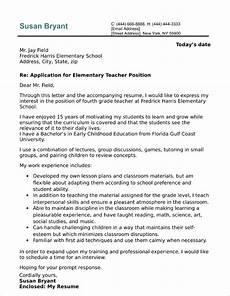 Letter Sample For Teacher Elementary Teacher Cover Letter Sample