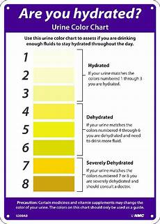 Dehydration Chart Are You Hydrated Urine Color Chart Sign 14x10 040 Alum