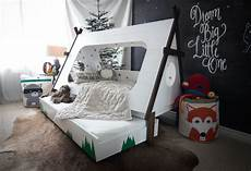diy toddler bed in shape of a tent teepee trundle