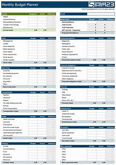 Monthly Expenses Excel Sheet Format Monthly Budget Planner Free Budget Spreadsheet For Excel