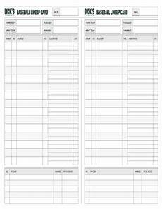 Baseball Lineup Card Pdf 124 Printable Baseball Lineup Sheets Forms And Templates