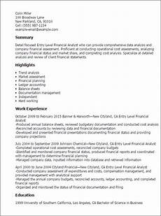 Summary For Entry Level Resume Entry Level Financial Analyst Resume Template Best