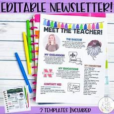 Meet The Teacher Newsletter Templates Meet The Teacher Newsletter Editable By Kristi Deroche Tpt