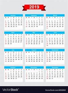 Week Calander 2019 Calendar Week Start Sunday Royalty Free Vector Image