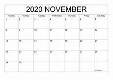 November 2020 Calendar Printable Free November 2020 Printable Calendar Templates