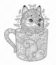 Ausmalbilder Tiere Schwierig Fuchs Im Pokal Malvorlagen Stockvektor 169 Ksania 133337302