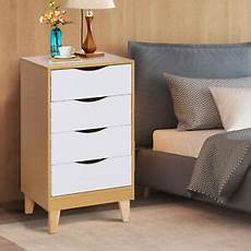 homcom bedside table stand elevated storage w