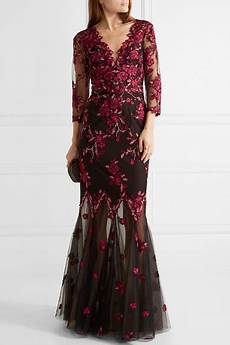 Marchesa Size Chart Marchesa Notte Embroidered Tulle Gown Net A Porter Com