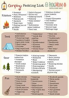 List For Camping Frog