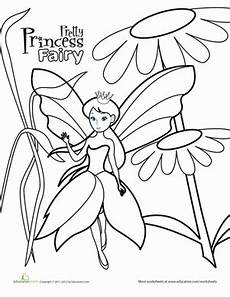 color the princess worksheet education