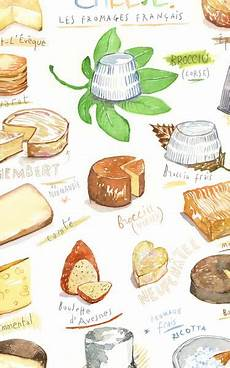 French Cheese Chart French Cheese Watercolor Illustration Poster Food Artwork