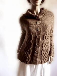 knit sweater womens cable knit cardigan hooded coat