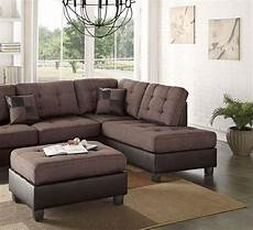 brown faux leather sectional sofa set 2 pcs f6857 poundex