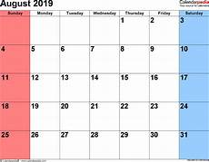 august 2019 calendar templates for word excel and pdf