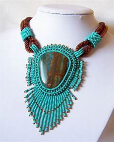 bead embroidery necklace pendant beadwork with blue lace