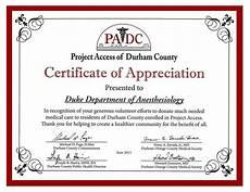 Certificate Of Apreciation Duke Anesthesiology Receives Padc Appreciation Award