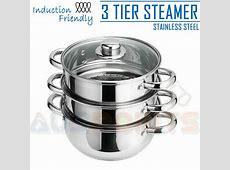 3 Tier Stainless Steel Steamer Cookware 18cm Saucepan Pot