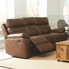 coaster damiano casual faux leather reclining sofa with