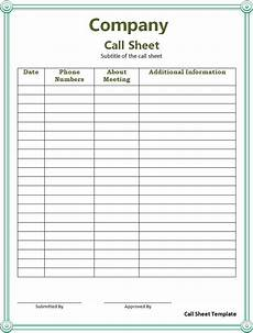 Sales Call List Template Call Sheet Template Free Word Templates