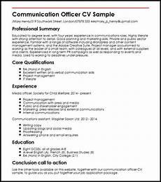Communication Skills Cv Examples Communication Officer Cv Sample Myperfectcv