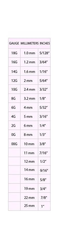 ear mm size chart ear gauge size chart actual size ear chart ink